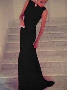 Black Plain Boat Neck Sleeveless Mermaid Elegant Prom Bodycon Maxi Dress