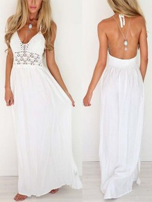 White Crochet Condole Belt Hollow-out Blackless V-neck Floor Length Lace Maxi Dress