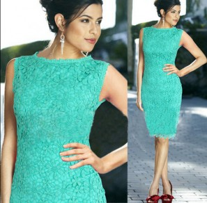 Green Plain Hollow-out Zipper Double-deck Knee Length Lace Dress