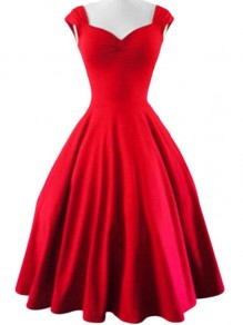 Red Plain Shoulder-Strap Pleated V-neck Vintage Dress