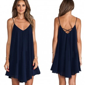 Summer Dark Blue Irregular Spaghetti Strap V-neck Fashion Chiffon Mini Dress
