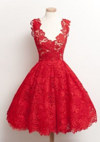 Red Plain Lace Pleated Zipper Hollow-out Round Neck Midi Dress