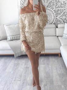 Golden Patchwork Sequin Double-deck Boat Neck Mini Dress