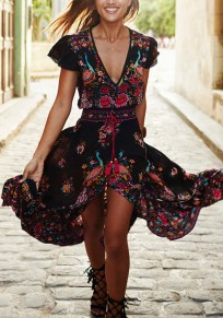 Black Floral Ruffle Irregular Drawstring High-Low Deep V-neck Casual Bohemian Streetwear Mexico Maxi Dress