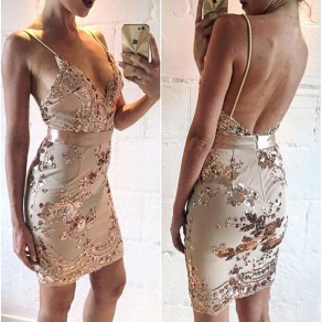 Golden Patchwork Condole Belt Sequin Plunging Neckline Mini Dress