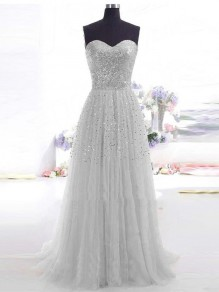 Grey Patchwork Bandeau Sequin Grenadine Fluffy Tulle Wedding Bridesmaid Ball Gowns Prom Maxi Dress