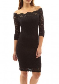 Black Plain Lace Off Shoulder 3/4 Sleeve Fashion Bodycon Midi Dress