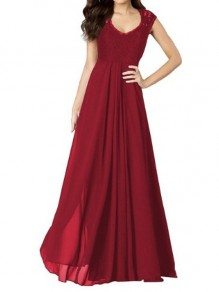 Wine Red Patchwork Lace Pleated V-neck Sexy Maxi Dress
