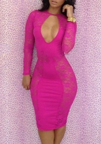 Rose Carmine Patchwork Lace Cut Out See-through Bodycon Sexy Club Mini Dress