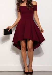 Burgundy Off-Shoulder Draped High-low A-Line Swallowtail Elegant Homecoming Skate Midi Dress