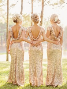 Golden Plain Sequin Bridesmaid V-Back Neck Party Maxi Dress