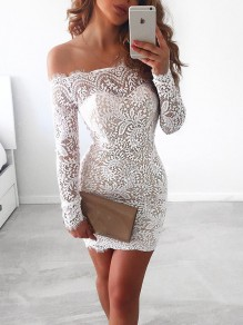 White Patchwork Lace Hollow-out Boat Neck Mini Dress