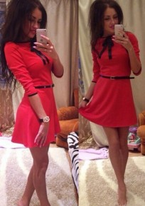 Red Plain Bow Round Neck Elegant Cotton Mini Dress