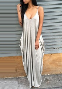 Grey Plain Pockets Draped Backless Spaghetti Straps Deep V-neck Casual Maxi Dress