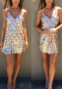 Golden Plain Condole Belt Sequin Fashion Mini Dress