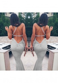 Grey Plain Polyester Collarless Party Polyester Maxi Dress