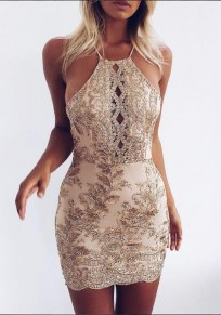 Golden Patchwork Lace Tie Back Cross Back Mini Dress