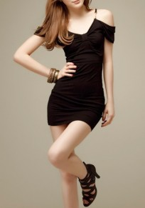 Black Plain Condole Belt Cut Out Mini Dress