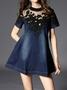 Blue Patchwork Hollow-out Lace Buttons Round Neck Fashion Homecoming Party Skater Denim Mini Dress