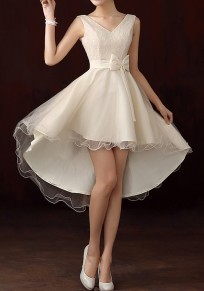 Champagne Patchwork Irregular Grenadine Bow Tie Back High-low Bridemaid Prom Mini Dress