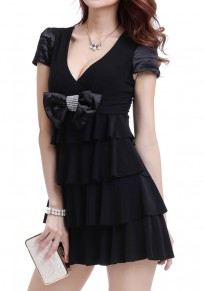 Black Plain Tiered Bow V-neck Mini Dress