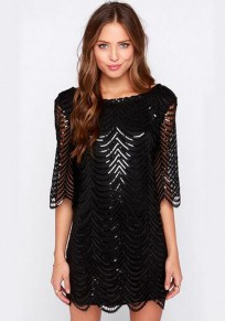 Black Patchwork Sequin Semicircular Fashion Polyester Mini Dress
