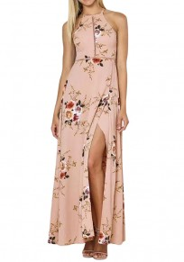 Pink Flowers Print Spaghetti Strap Tie Back Side Slit Backless Maxi Dress