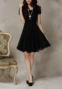 Black Patchwork Lace Draped Round Neck Mini Dress