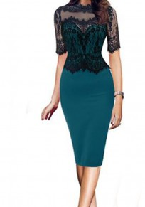 Green-Black Patchwork Lace Hollow-out Zipper Half Sleeve Plus Size Midi Dress