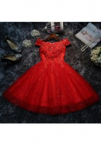 Red Patchwork Sequin Lace Grenadine Double-deck Fashion Mini Dress