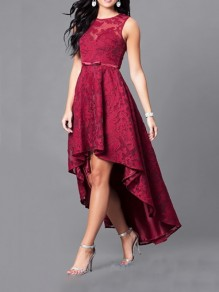 Red Patchwork Lace Embroidery High-low Round Neck Sleeveless Maxi Dress
