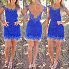 Blue Patchwork Lace Grenadine See-through Backless Prom Evening Party Mini Dress