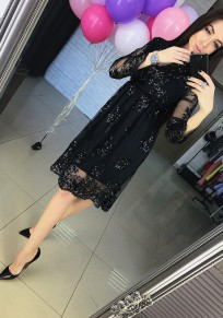 Black Patchwork Lace Hollow-out Grenadine Sequin Midi Dress
