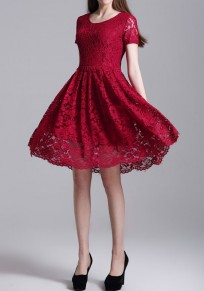 Burgundy Patchwork Lace Hollow-out Pleated Round Neck Elegant Mini Dress