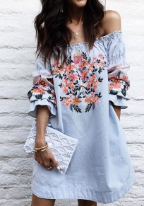 Blue Flowers Embroidery Off Shoulder Long Sleeve Mexican Cute Mini Dress