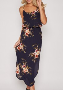 Navy Blue Spaghetti Strap Flowers Irregular Drawstring Side Slit Maxi Dress