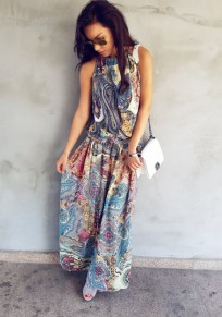Blue Floral Pleated Halter Neck Sleeveless Vintage Bohemian Countryside Casual Maxi Dress