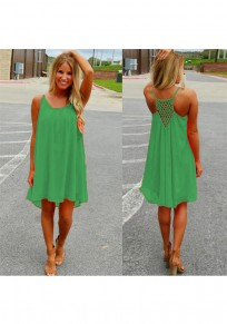 Green Plaid Irregular Draped High-low Round Neck Casual Mini Dress
