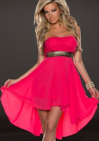 Red Patchwork Bandeau Sequin Swallowtail Club Backless Midi Dress
