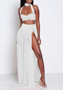 White Backless Cut Out Two Piece Zipper Side Slit Halter Neck Bohemian Maxi Dress