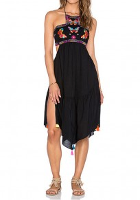 Black Floral Grenadine Tie Back Chiffon Midi Dress