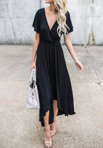 Black V-neck Irregular Draped Belt Short Sleeve Fashion Maxi Dress