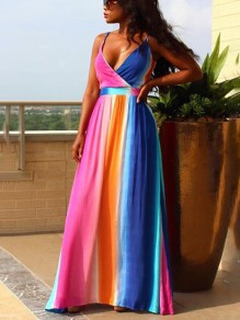 Pink Rainbow Pleated Spaghetti Strap V-neck Backless Bohemian Beach Chiffon Maxi Dress
