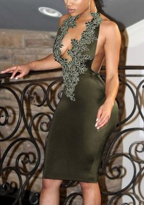 Army Green Flowers Appliques Backless Halter Neck Bodycon Party Midi Dress