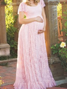 Pink Patchwork Lace Draped Ruffle Comfy Plus Size Maternity Maxi Dress