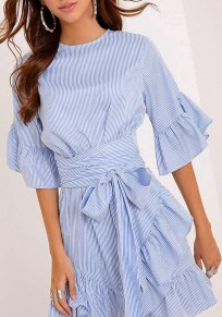 Blue Striped Irregular Ruffle Sashes Bow Round Neck Elbow Sleeve Mini Dress