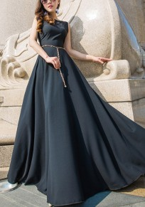 Black Belt Pleated Round Neck Plus Size Elegant Maxi Dress