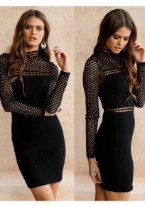 Black Patchwork Cut Out Zipper Band Collar Bodycon Homecoming Party Mini Dress