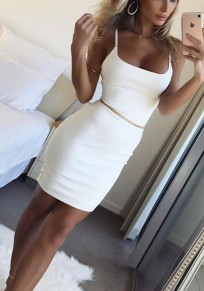 White Condole Belt Spaghetti Strap Round Neck Fashion Dacron Mini Dress