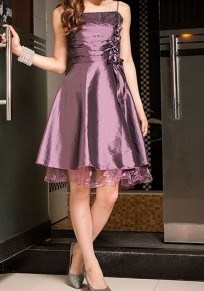 Purple PatchworkCondole Belt Sequin Lace Grenadine Irregular Boat Neck Midi Dress